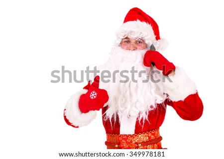 Santa Claus using mobile smart phone and show thumb up Close-up Portrait. Isolated on White Background