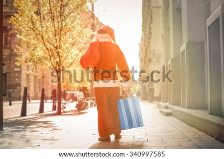Santa Claus walking in the city