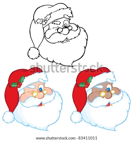 Santa Claus Winking Classic Cartoon Head.Raster Collection.Vector version is also available - stock photo
