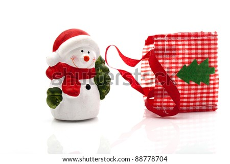 Santa Claus with a bag on white background