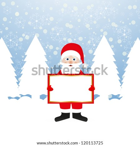 Santa Claus with a banner in his hands in a fairy forest - stock photo
