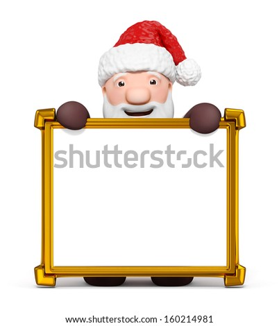 Santa claus with a blank golden frame - stock photo