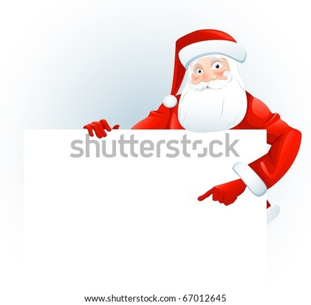 Santa Claus with a blank sign. Add your text. - stock photo
