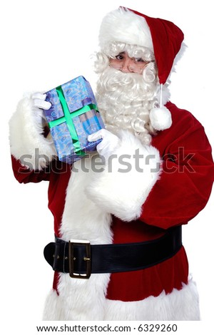 Santa Claus with a gift a over white background