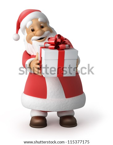Santa Claus with a gift, 3d image with work-path - stock photo