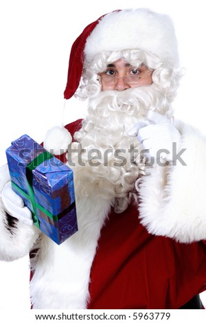Santa Claus with a gift for you a over white background