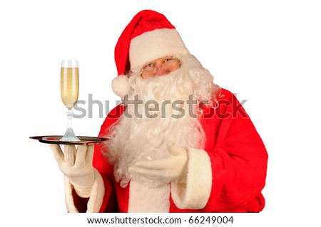 Santa Claus with a glass of champagne on serving tray. Horizontal format isolated on white. - stock photo
