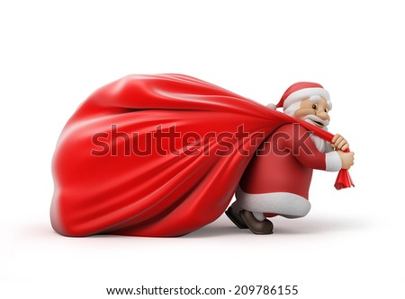 Santa Claus with a heavy bag of gifts, 3d illustration. work path