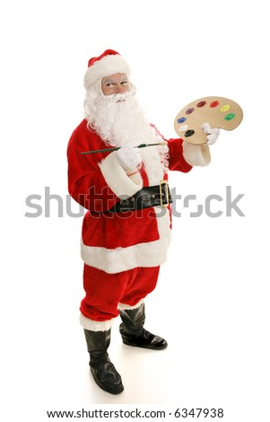 Santa Claus with a paintbrush and paint palette.  Full view isolated on white. - stock photo