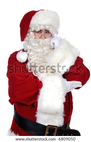 Santa Claus with a thoughtful expression over white background
