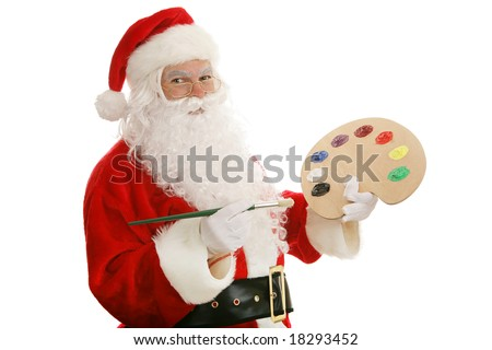 Santa Claus with an artists palette and paint brush.  Isolated on white. - stock photo