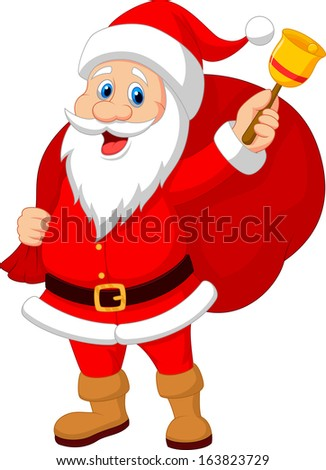 Santa Claus with bell  carrying sack   - stock photo