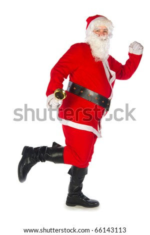 Santa Claus with bell isolated over white - stock photo