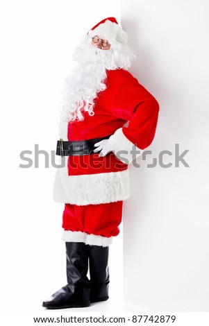 Santa Claus with billboards isolated - stock photo