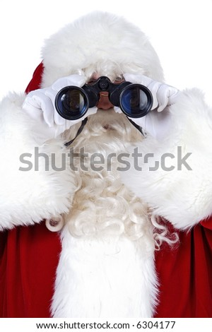 santa claus with binoculars a over white background