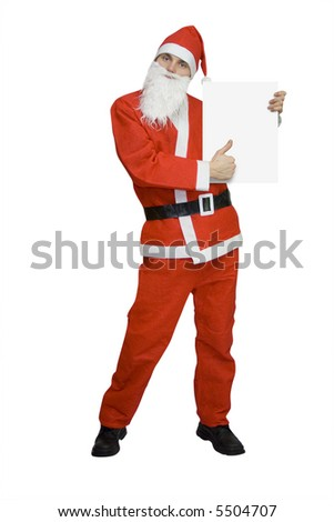santa claus with blank card isolated on white - stock photo