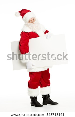 Santa Claus with blank white board in hands, isolated on white