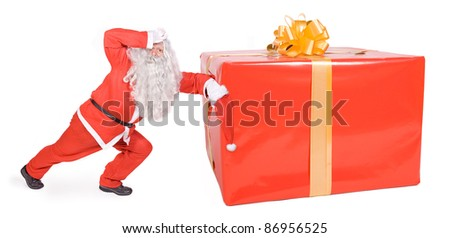 Santa Claus with Christmas box isolated on white background - stock photo