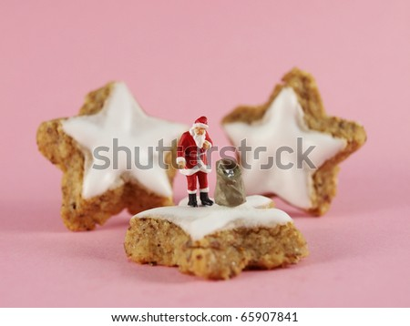 Santa Claus with Christmas Cookies - stock photo
