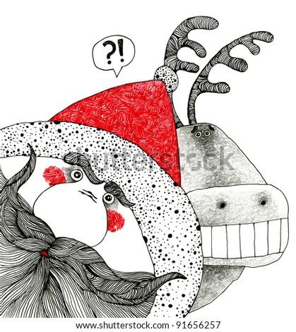 Santa Claus with Christmas deer. - stock photo