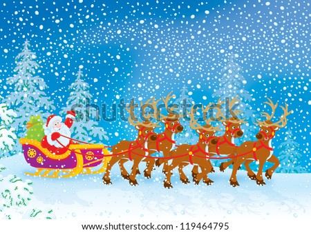 Santa Claus with Christmas gifts drives in his sleigh pulled by reindeers through a snow-covered forest - stock photo