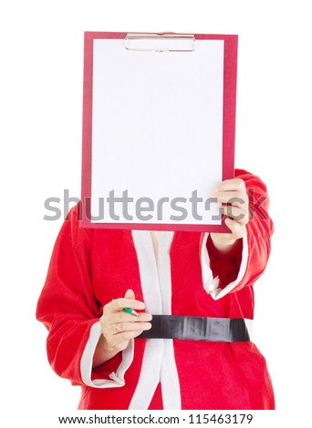 Santa claus with clipboard - stock photo