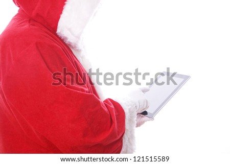 santa claus with digital tablet. isolated on the white background