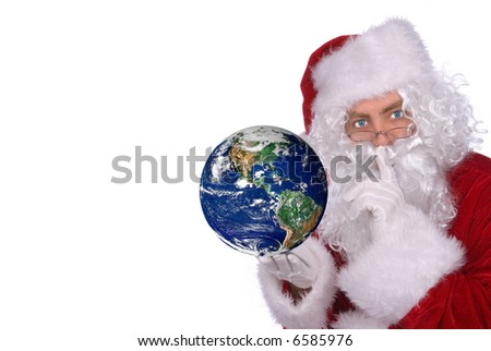 Santa Claus with Earth in his hand isolated over white - stock photo