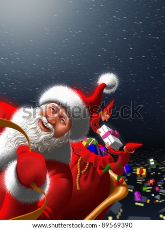 Santa Claus with elves - stock photo