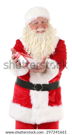 Santa Claus with gift box isolated on white background