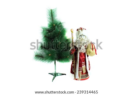 Santa Claus with gifts. Isolated object on white background. - stock photo