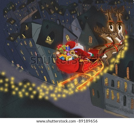 Santa Claus with gifts on the background of the city. - stock photo