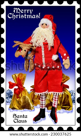 Santa Claus with gifts on the background of the winter forest.Merry Christmas.Happy New Year! Postage stamps.Doll. - stock photo