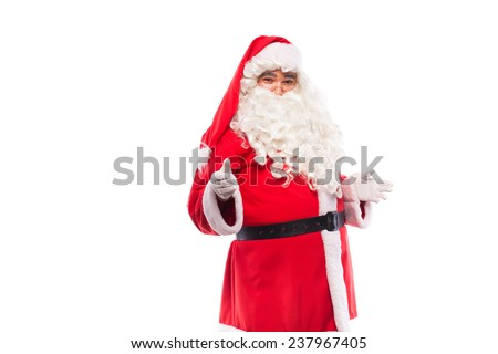 santa claus with glasses and white gloves on white backgound, copy space