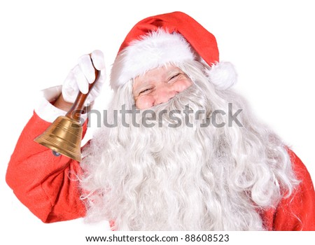 Santa Claus with handle bell on white background