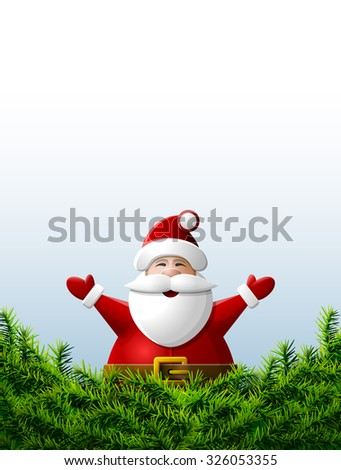 Santa Claus with his hands up is behind pine branches. Christmas template with Santa and christmas tree twigs. Image for christmas, new year's day, winter holiday, new year's eve, silvester, etc - stock photo