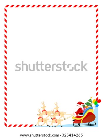 Santa claus with his sledge and toys christmas frame / background - stock photo