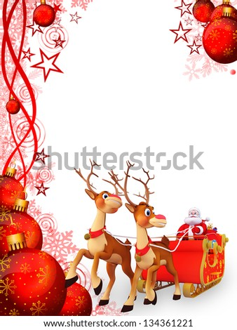 Santa claus with his sleigh - stock photo
