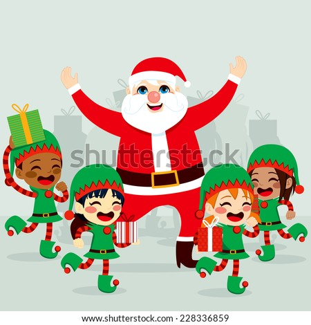Santa Claus with little helper elves dancing around and preparing gifts to deliver on Christmas day - stock photo