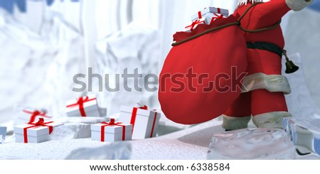 Santa Claus with lots of gifts in the North Pole