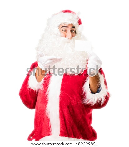 santa claus with name card