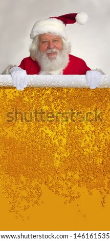 Santa Claus with real beard and dewy beer texture - stock photo