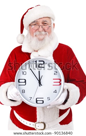 Santa Claus with real beard holding clock, clock showing five minutes to midnight, isolated on white background - stock photo