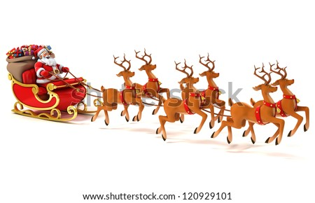 Santa Claus with sledge, deers and Christmas presents - stock photo
