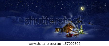 Santa Claus with sledge, presents and deers by log cabin with Christmas tree, scenic village panorama. Copy space, illustration - stock photo