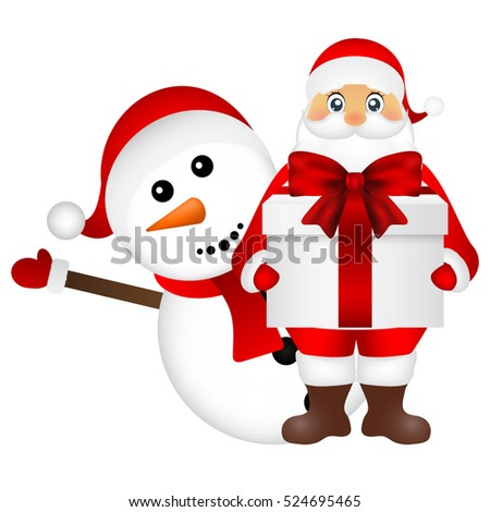 Santa Claus with snowman cartoon with a gift
