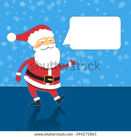 Santa Claus with speech bubble, blue background, flat design style - stock photo