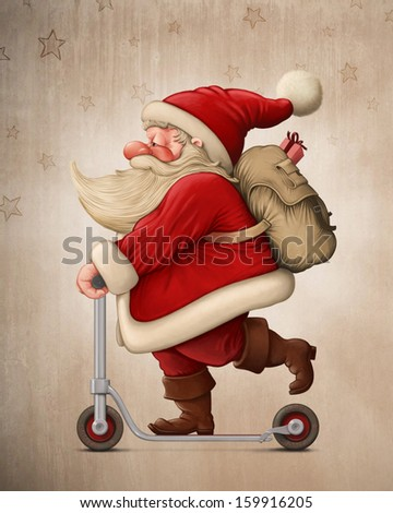 Santa Claus with the Push scooter delivery the gifts - stock photo