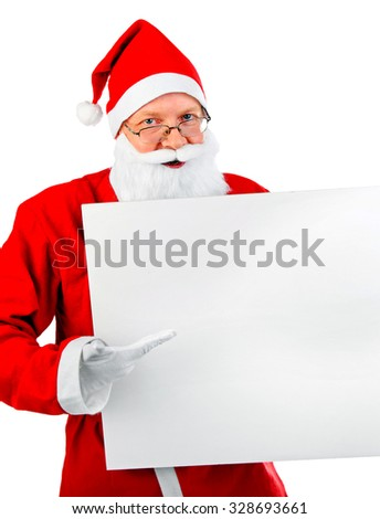 Santa Claus with White Blank Board on the White Background