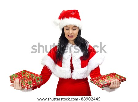 Santa Claus woman crying with opened gift box in hands, isolated on white - stock photo
